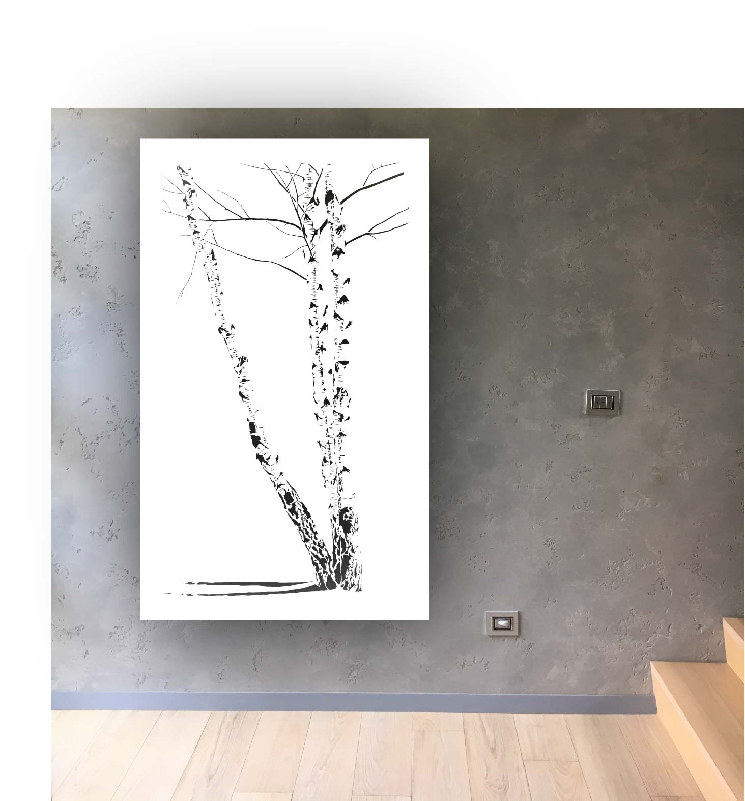 Obraz metalowy na ścianę brzozy_1