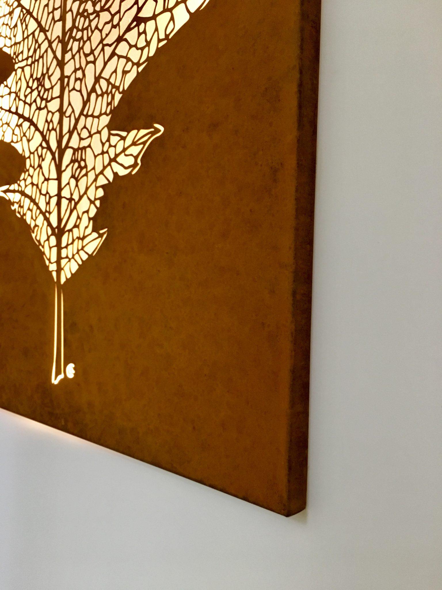 Obraz-metalowy-na-ścianę-liść-dębu_2
