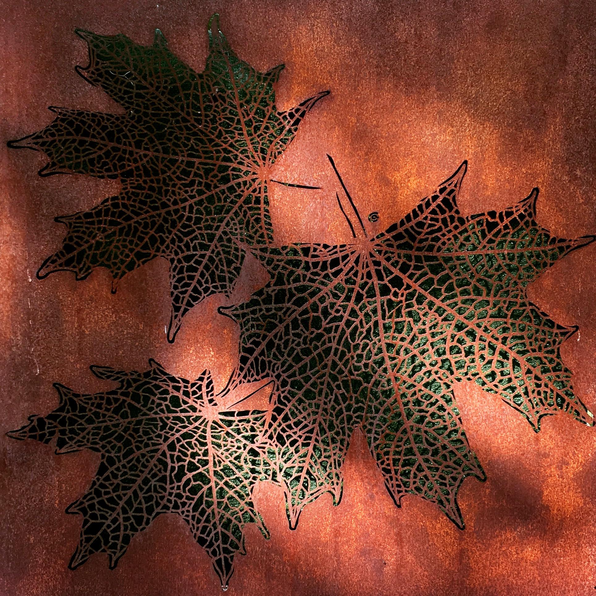 Obraz-metalowy-na-ścianę-liście-klonu_5