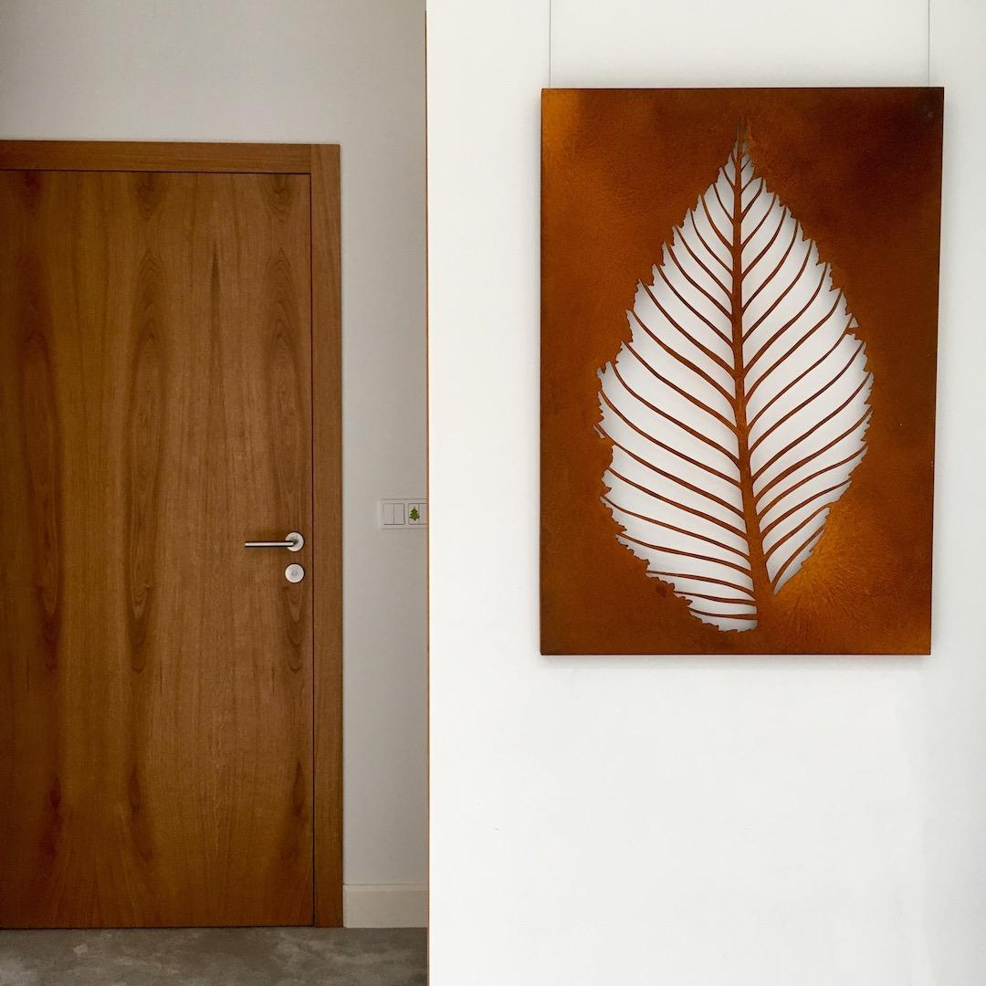 Obraz metalowy na ścianę liść grabu_3
