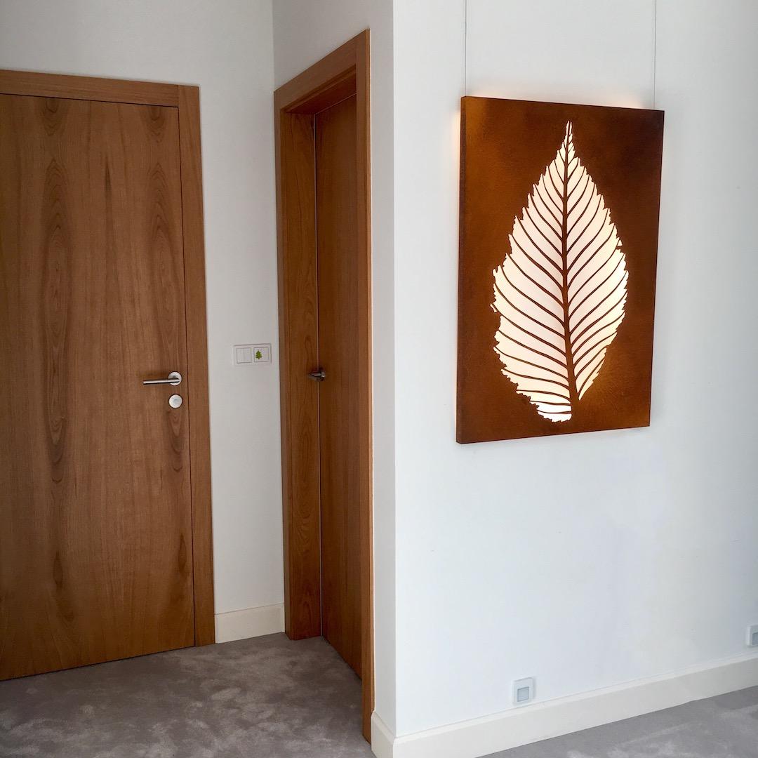 Obraz metalowy na ścianę liść grabu_4