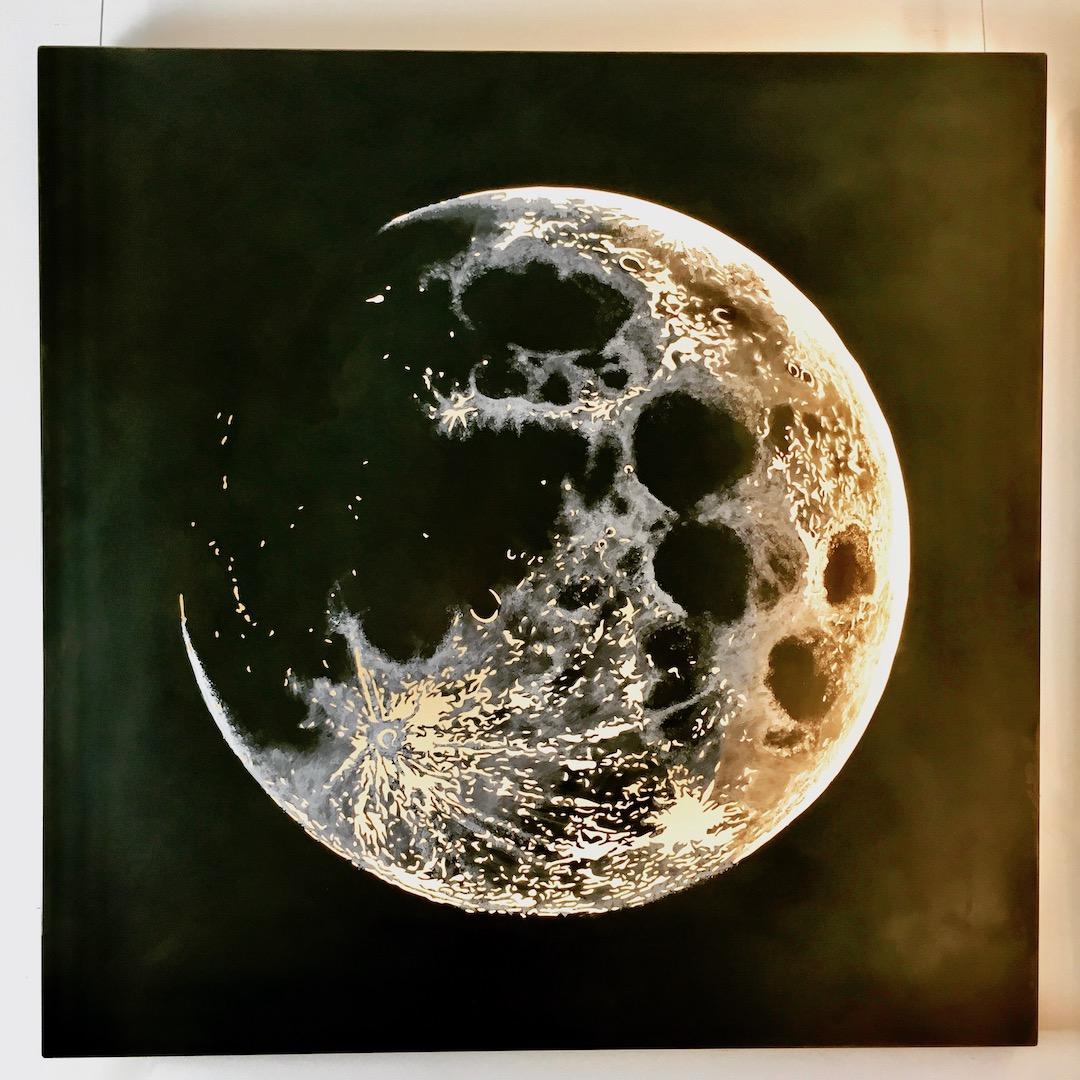 Obraz metalowy na ścianę stal oksydowana księżyc_1