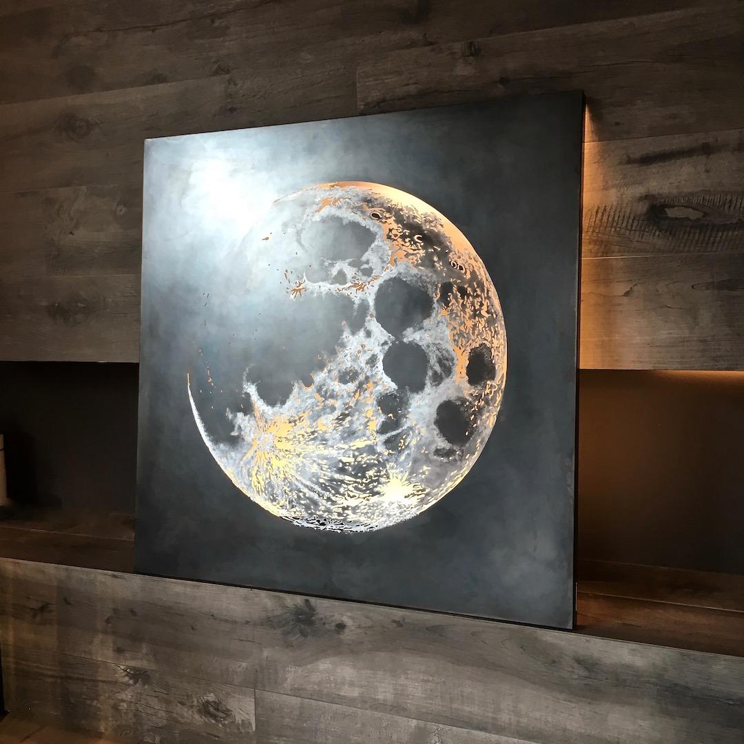 Obraz metalowy na ścianę stal oksydowana księżyc_2