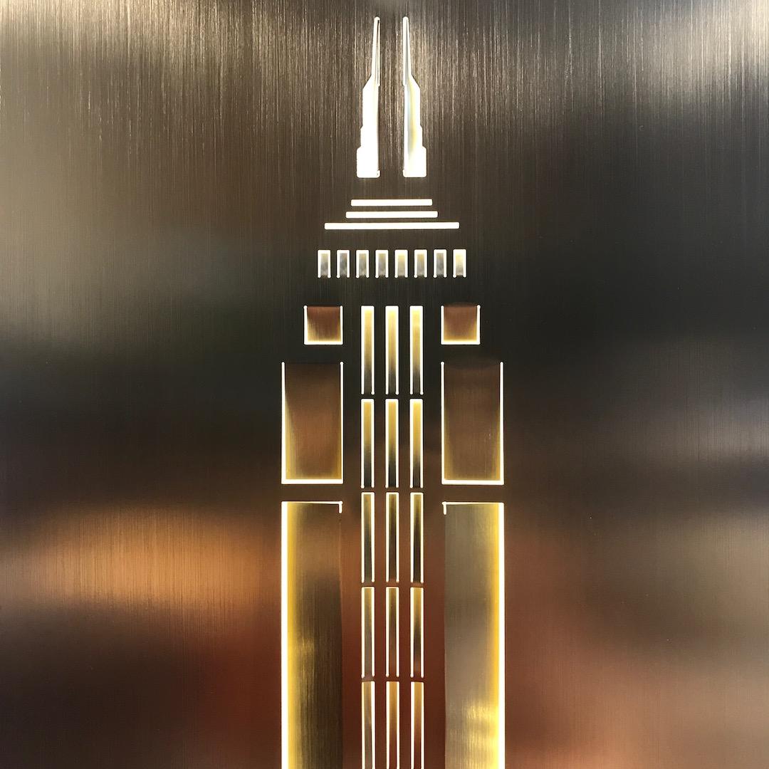 Obraz metalowy na ścianę z mosiadzu Empire State