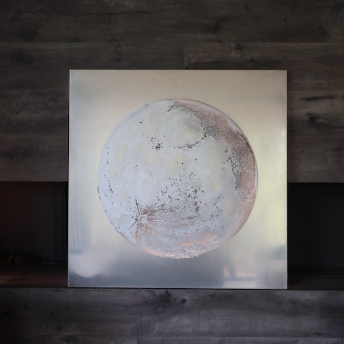 Moon in stainless steel painted with wax