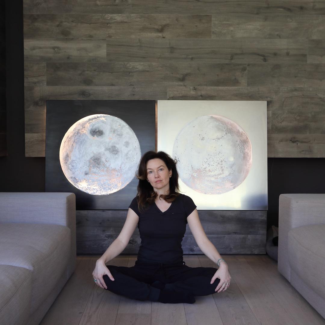 Obraz metalowy księżyc nierdzewka i wosk