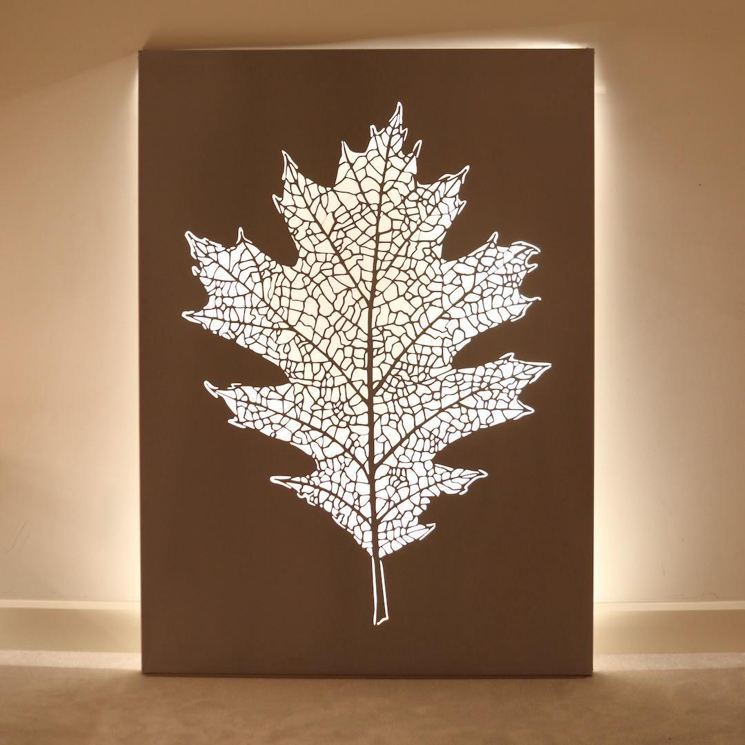 Obraz metalowy stal nierdzewna liść