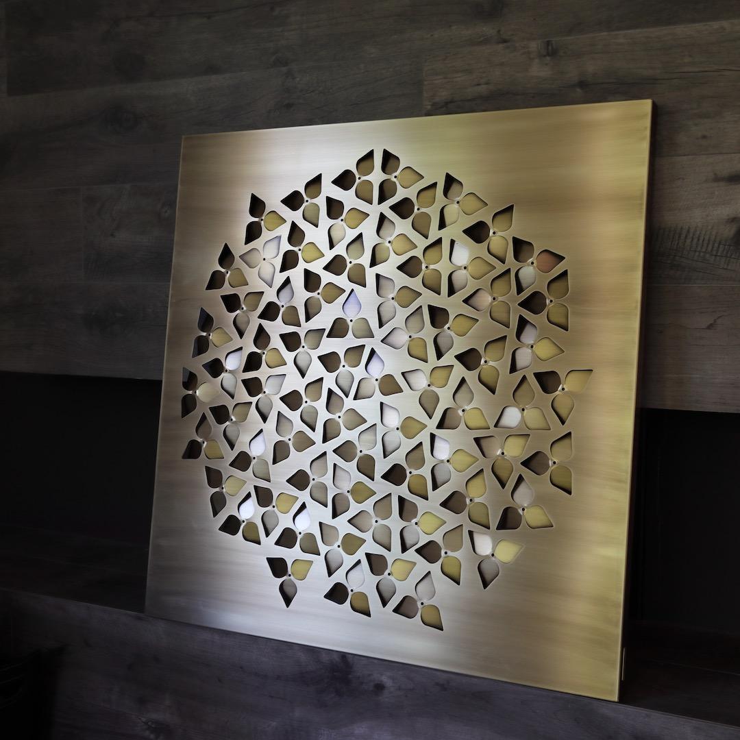 Obraz metalowy mosiądz oksydowany hortensja