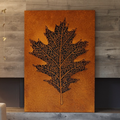 Red oak leaf in corten