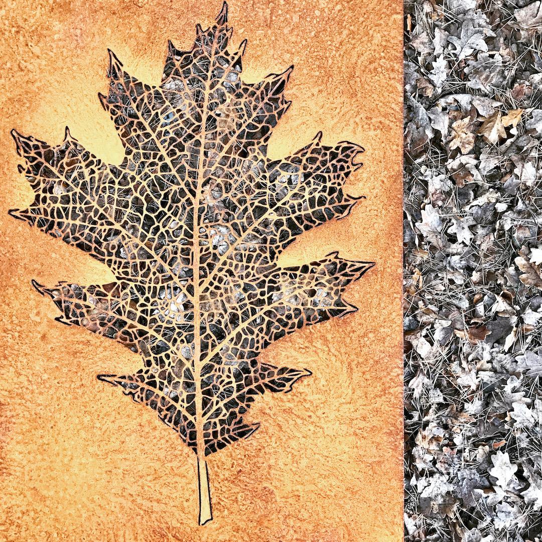 Obraz metalowy corten liść dębu
