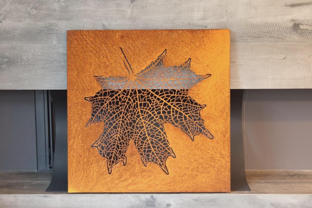 Obraz metalowy corten liść klonu