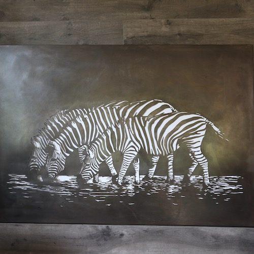 Zebras oxidised steel
