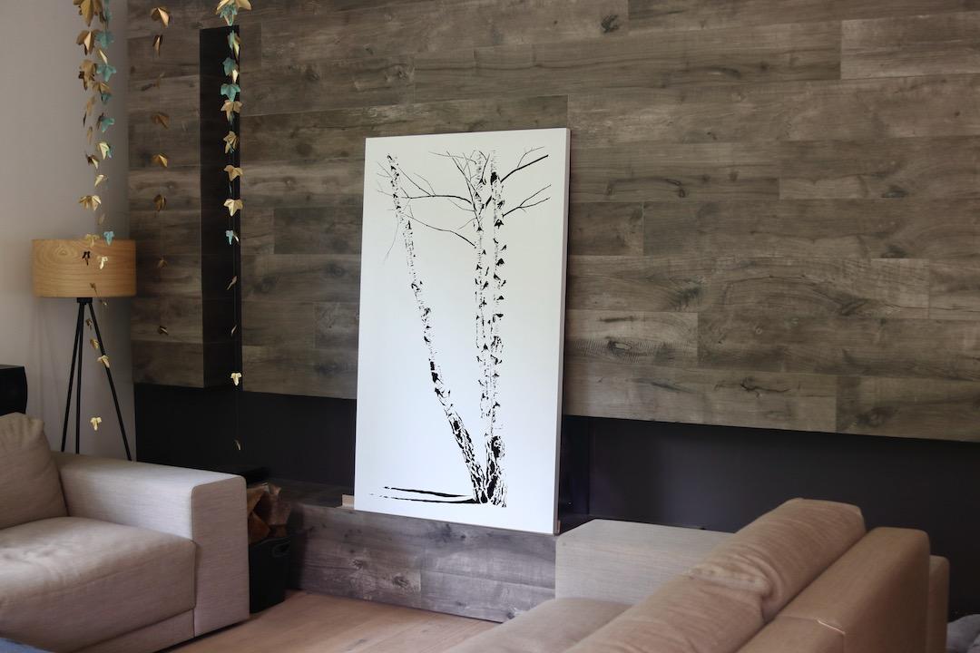 Obraz metalowy lakierowany brzozy zima